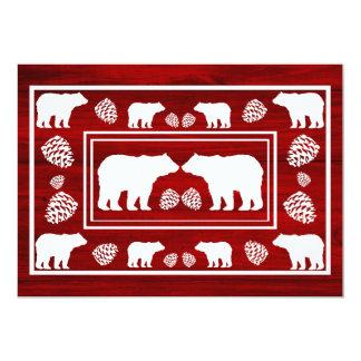 Rustic maroon bear double sided custom RSVP cards 13 Cm X 18 Cm Invitation Card