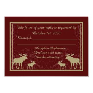 Rustic maroon moose swirl custom RSVP cards 13 Cm X 18 Cm Invitation Card