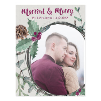 Rustic Married & Merry Calligraphy Holiday Photo Postcard