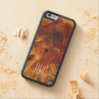 Rustic Masculine and Woodsy Burl Monogram Carved Maple iPhone 6 Bumper Case