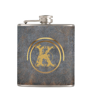 Rustic Masculine | Monogrammed Brown Leather Look Hip Flask