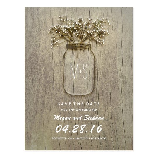 rustic mason jar and baby's breath save the