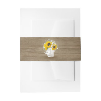 Rustic Mason Jar and Baby's Breath with Sunflowers Invitation Belly Band