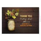 Rustic mason jar and fall leaves thank you cards