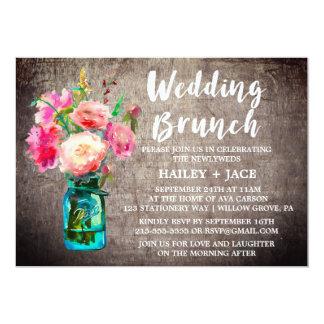 Rustic Mason Jar and Flower Bouquet Wedding Brunch Card