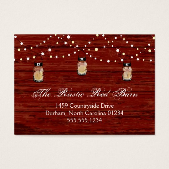 Rustic Mason Jar and Lights Business Card