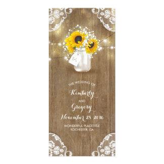 Rustic Mason Jar and Sunflowers Wedding Programs Rack Card