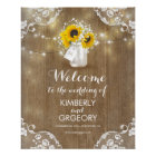 Rustic Mason Jar and Sunflowers Welcome Sign