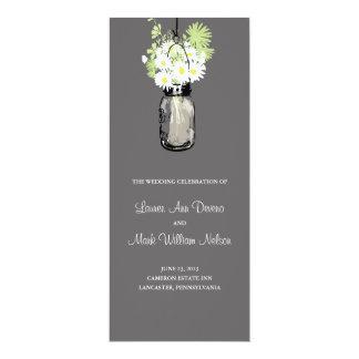 Rustic Mason Jar and Wildflower Daisies Program 10 Cm X 24 Cm Invitation Card