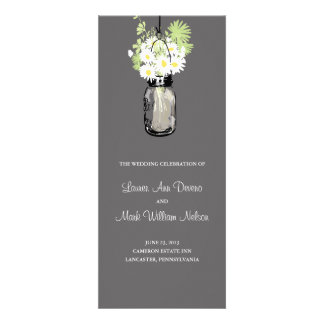 Rustic Mason Jar and Wildflower Daisies Program Personalized Invitation