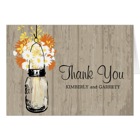 Rustic Mason Jar and Wildflowers Card