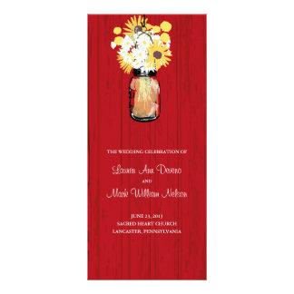 Rustic Mason Jar and Wildflowers Program Rack Card