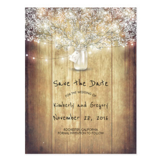 Rustic Mason Jar Baby's Breath Barn Save the Date Postcard
