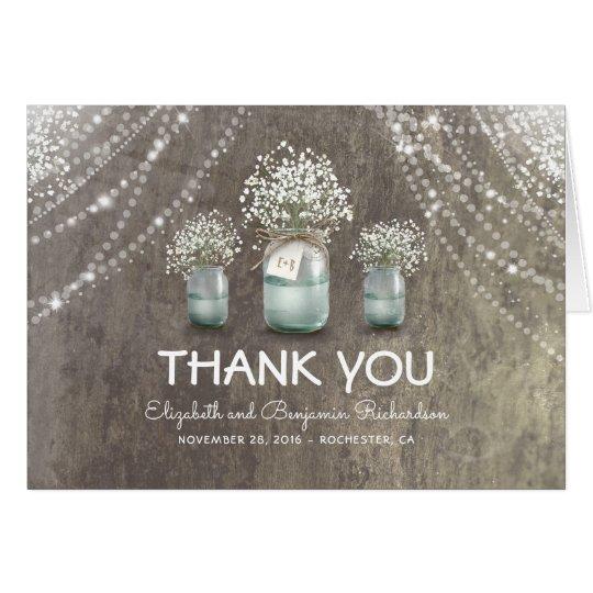 Rustic Mason Jar Baby's Breath Flowers Thank You Card