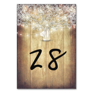 Rustic Mason Jar Baby's Breath String Lights Barn Table Cards