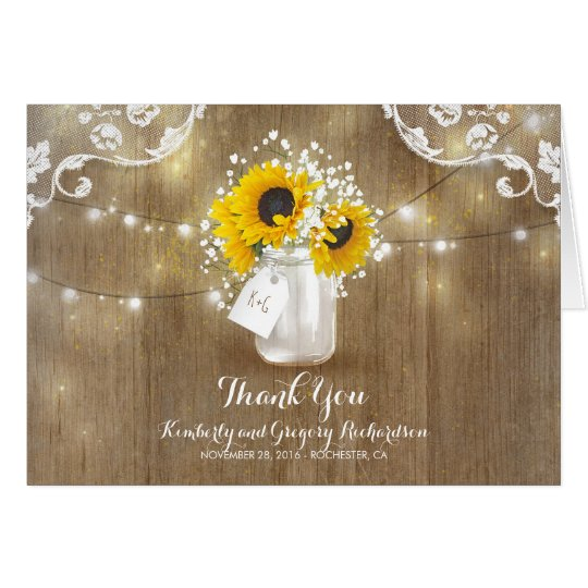Rustic Mason Jar Baby's Breath Sunflower Thank You