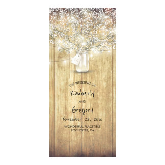 Rustic Mason Jar Baby's Breath Wedding Programs Rack Card