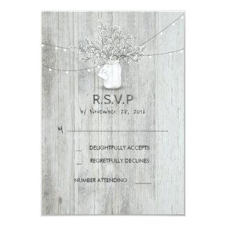 Rustic Mason Jar Baby's Breath Wedding RSVP Cards