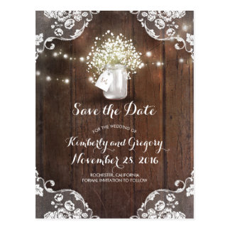 Rustic Mason Jar Baby's Breath Wood Save the Date Postcard