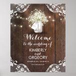 Rustic Mason Jar Barn Wood Wedding Welcome Sign