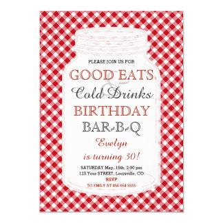 Rustic Mason Jar Birthday BBQ Invitation