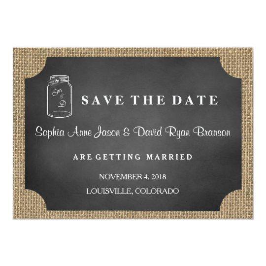 Rustic Mason Jar Burlap Wedding SAVE THE DATE
