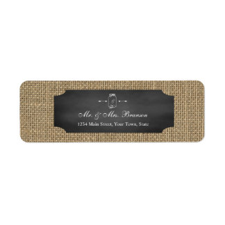 Rustic Mason Jar Chalkboard Burlap Wedding Return Address Label