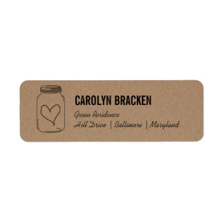 Rustic Mason Jar Cute Heart Kraft Brown Paper Return Address Label