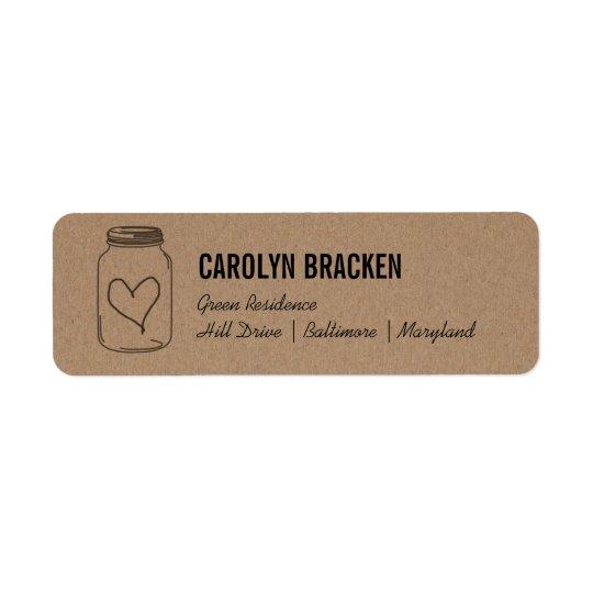 Rustic Mason Jar Cute Heart Kraft Brown Paper