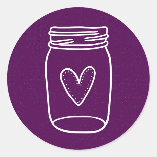 Rustic Mason Jar Distressed Purple Wedding Party Round