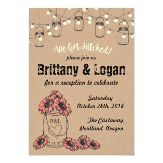 Rustic Mason Jar Eloped Reception Invitation
