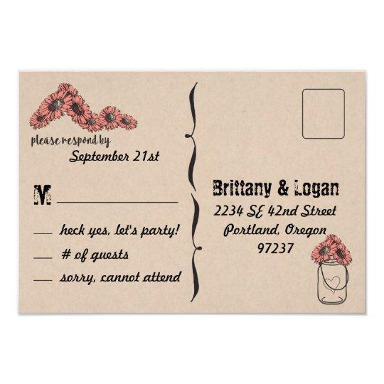 Rustic Mason Jar Elopement Response Postcard