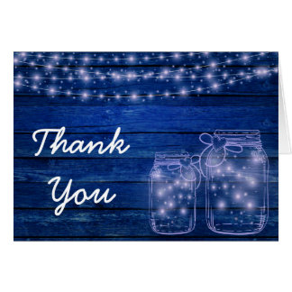 Rustic Mason Jar Evening Wedding Thank You Card