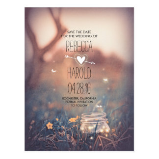 Rustic Mason Jar Fireflies Nature Save the Date Postcard
