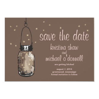 Rustic Mason Jar & Fireflies Save the Date Card