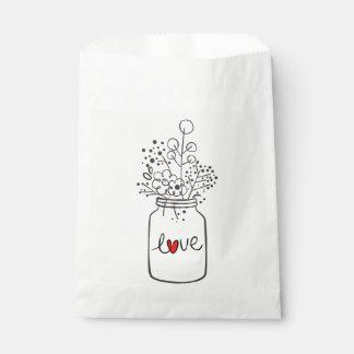 Rustic Mason Jar Floral Love Wedding Party Favour Bags