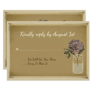 Rustic Mason Jar Flowers Rose Wedding RSVP card