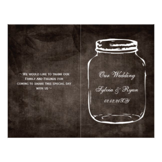rustic mason jar folded Wedding program Flyer