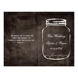 rustic mason jar folded Wedding program Flyer