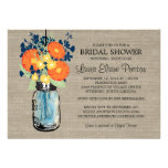 Rustic Mason Jar Gerber Daisies Bridal Shower Custom Invites