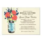 Rustic Mason Jar Gerbera Daisies Bridal Shower Card