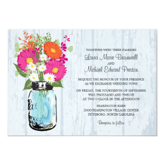 Rustic Mason Jar & Gerbera Daisies Wedding Card