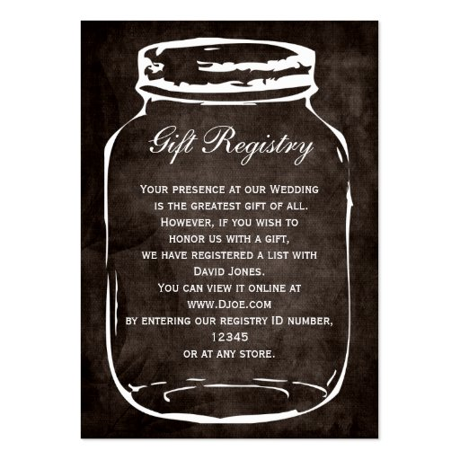 Create your own mason business cards page4 rustic mason jar gift registry cards business card reheart Images