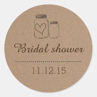 Rustic Mason Jar| Heart Bridal Shower Classic Round Sticker