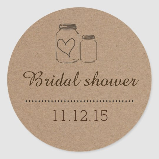Rustic Mason Jar| Heart Bridal Shower Classic Round