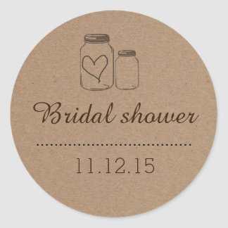 Rustic Mason Jar| Heart Bridal Shower Round Sticker