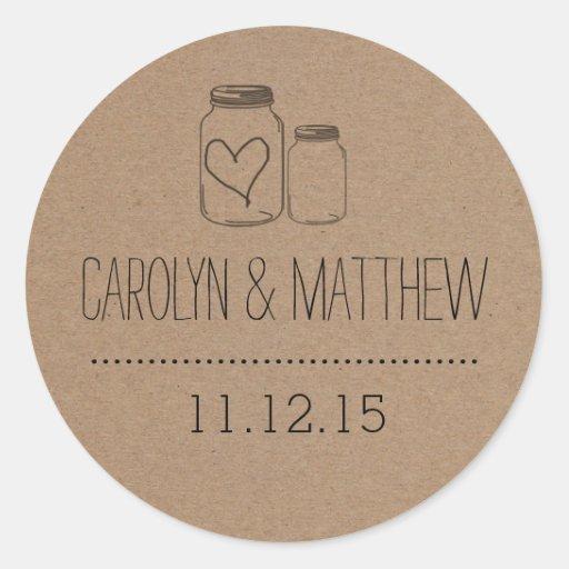 Rustic Mason Jar| Heart Wedding Favor Sticker