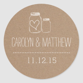 Rustic Mason Jar| Heart Wedding Favor Sticker2 Round Sticker