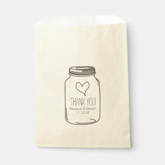 Rustic Mason Jar Heart Wedding Thank You Favour Bags