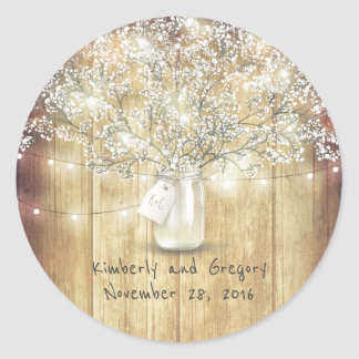 Rustic Mason Jar Lights Baby's Breath Wedding Round Sticker